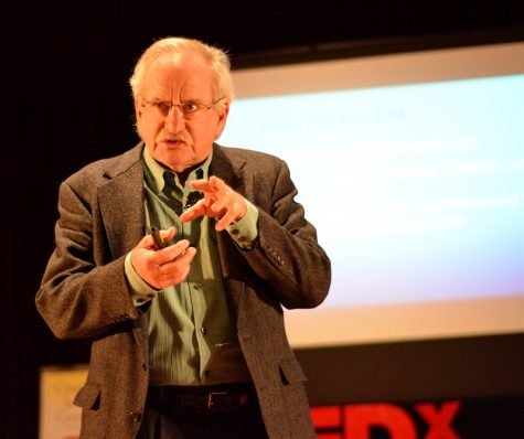 Psychology professor Daniel Beaver speaking about how technology affects inter-personal relationships at LMC's first TEDx event last fall.