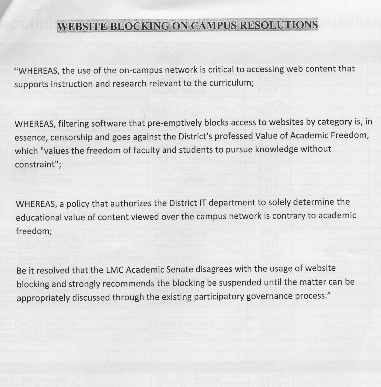 Academic Senate resolution