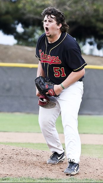 Los Medanos College pitcher Scott Meylan (#51)is expressing his excitement after he threw the last pitch which took the win. LMC vs. Napa Valley College Men's Baseball game at Los Medanos College in Pittsburg, Calif., on Tuesday, Mar. 13, 2018.