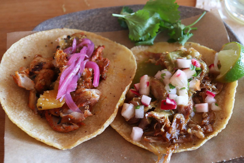 Guisada and pollo tacos.