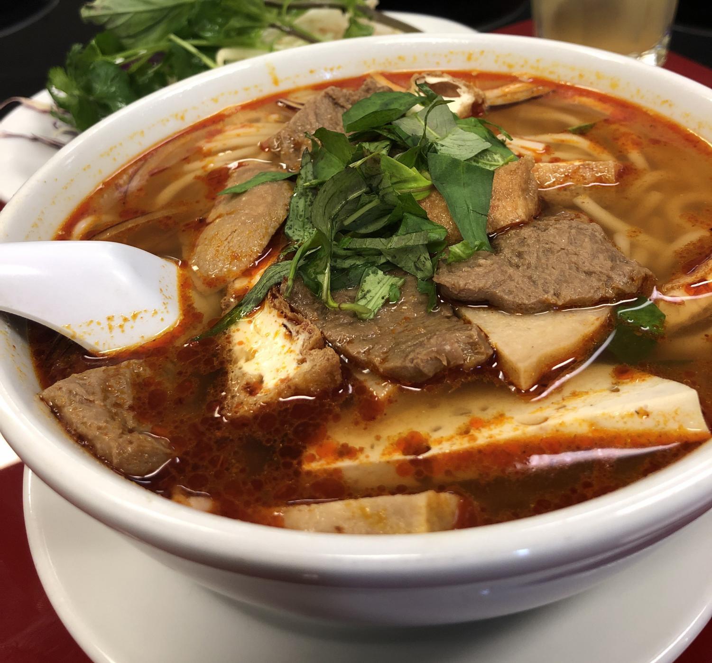 Spicy vegan beef rice noodle soup.