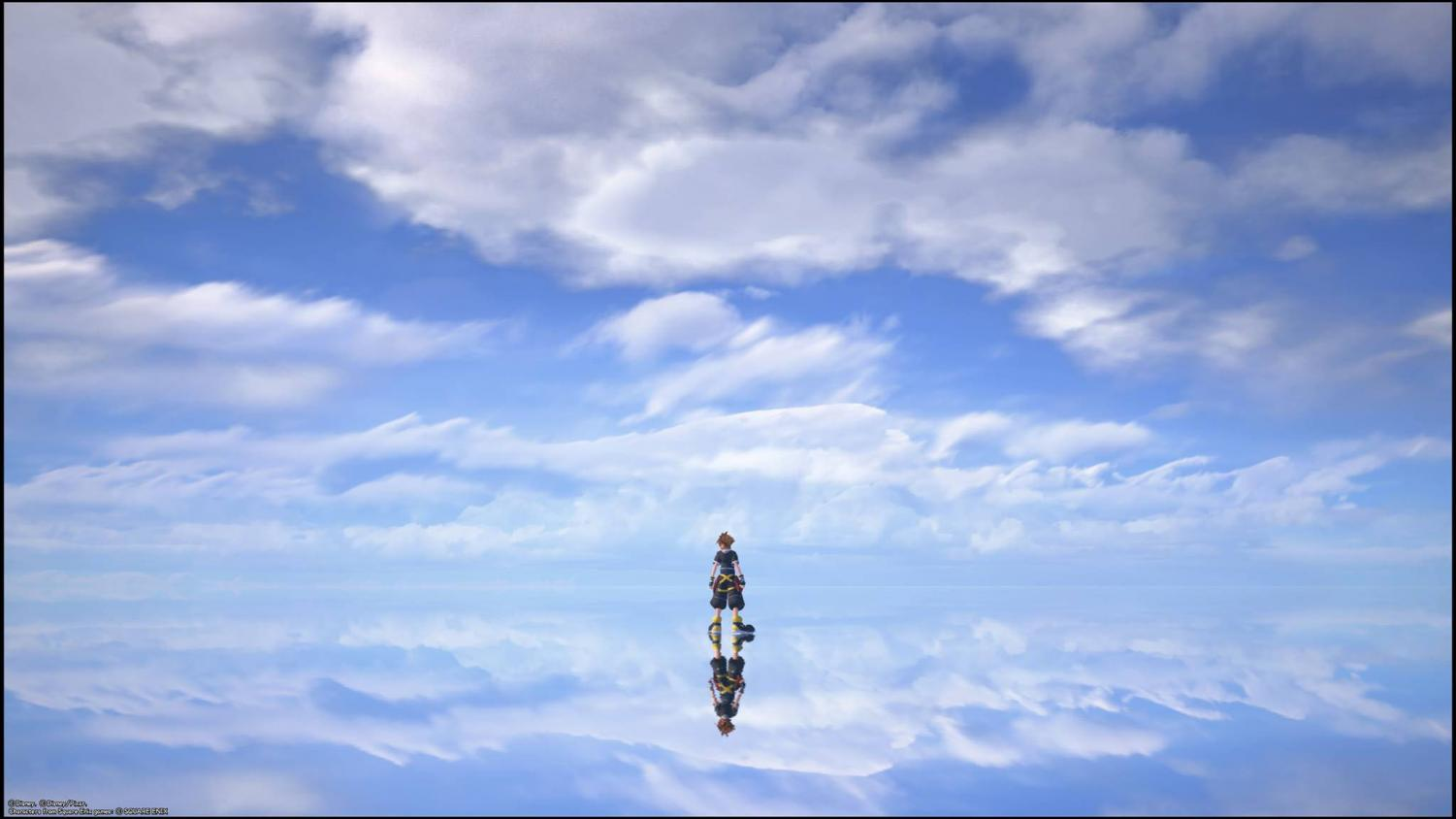 Sora stands in the realm of endless sky and sea.