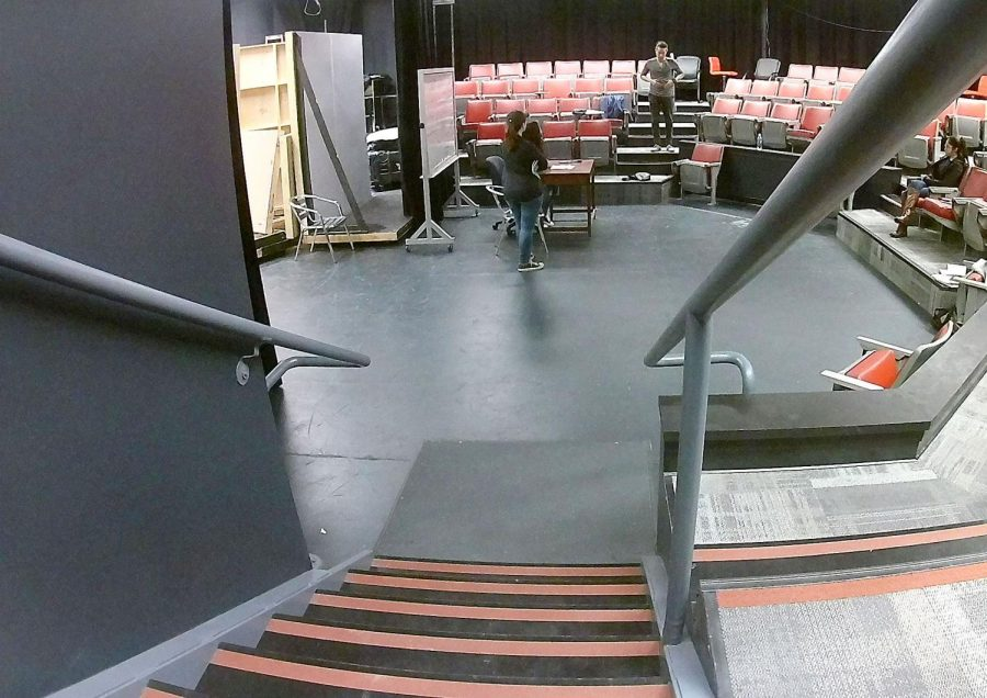 Students+rehearse+for+the+upcoming+play+%22Connected%22+in+the+newly+renovated+Little+Theater.++