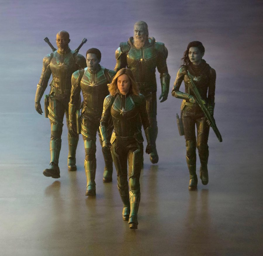 Captain Marvel, played by Brie Larson, walks alongside her fellow Kree warriors.