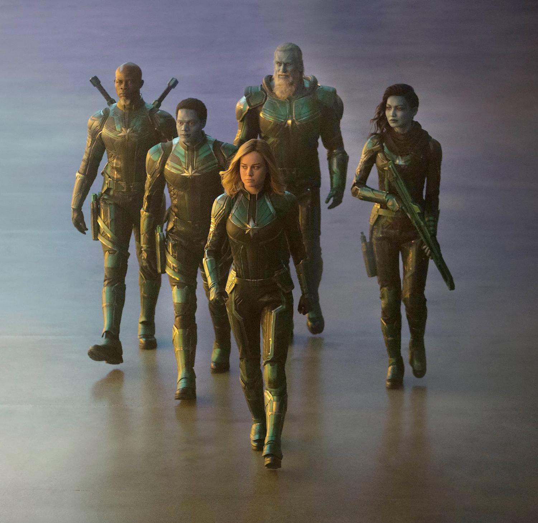 Captain Marvel, played by Brie Larson, walks alongside her fellow Kree warriors.
