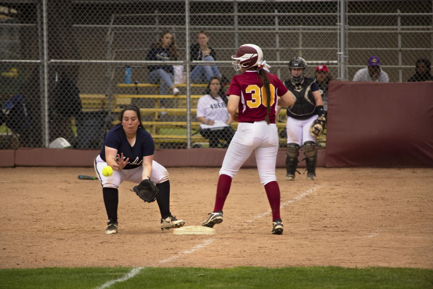 LMC's Alexus Coleman advances from second to third base during her team's 9-0 win over Yuba College March 19.