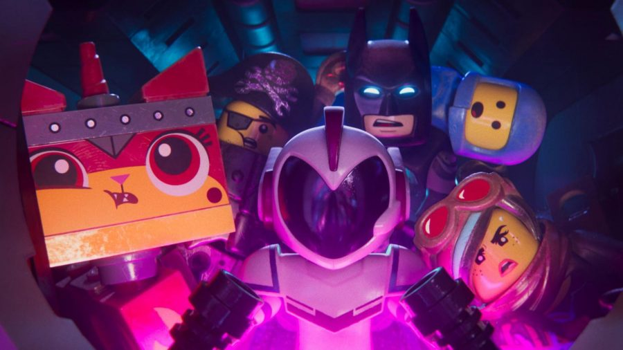 """Unikitty, Metalbeard, Batman, Benny and Wyldstyle all pack into General Sweet Mayhem's spaceship for a wild adventure in the """"Lego Movie 2: The Second Part."""""""