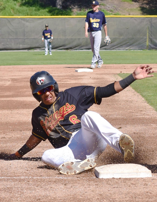 Jesus Hernandez steals third base in the first inning.