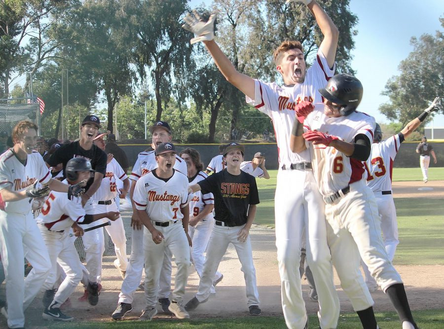 The+LMC+baseball+team+celebrates+after+it+beat+Mission+college+11-7+May+4+to+advance+in+the+California+Community+College+Athletics+Association+playoffs.