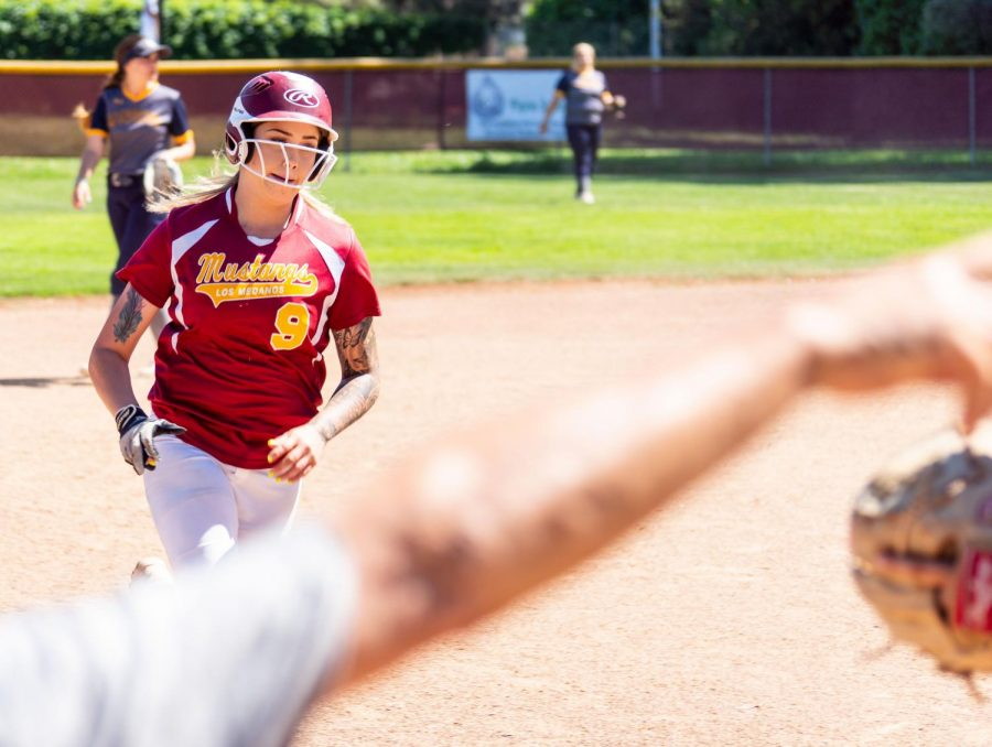 Shay Siino rounds the bases against Mendocino College in LMC's last game of the season April 24.