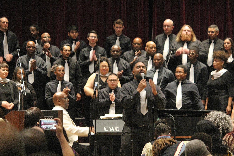 Alumni Casey Pringle sings alogside he LMC Gospel Reunion Choir.