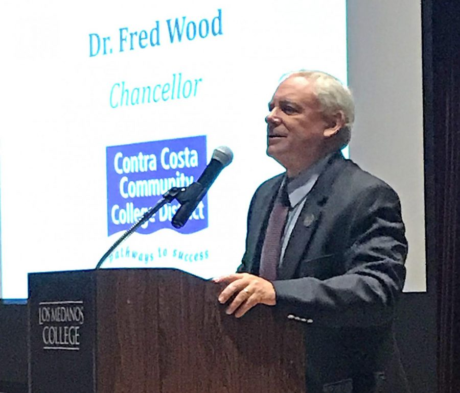 Fred+Wood+gave+a+speech+on+Opening+Day+Aug.+23+to+talk+about+his+retirement.