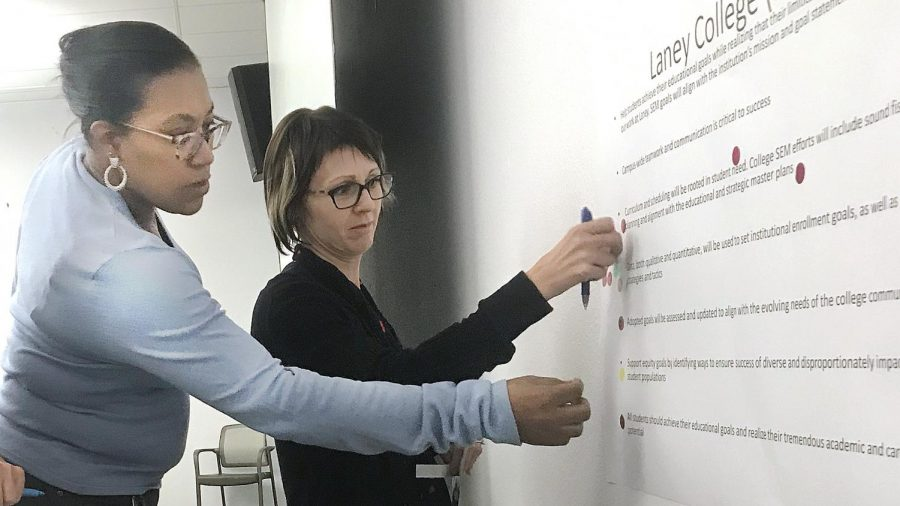 Letta Greene and Jill Bouchard place dots on a board Sept. 16.