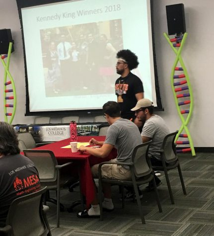 Student Abiel Alesana surveys the MESA event that took place Friday, Sept. 13 in L-109.