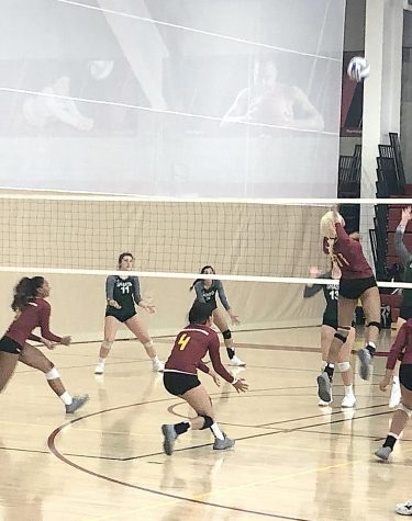 LMC Mustangs spiking the ball back to Shasta College.