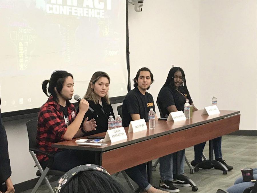 Student+leaders+Adrian+Montemayor%2C+Caitlyn+Lee%2C+Christian+Ortiz+and+Thyra+Cobbs+were+panelists+at+the+Impact+Conference+that+took+phace+Thursday%2C+Oct.+17+and+Friday%2C+Oct.+18.