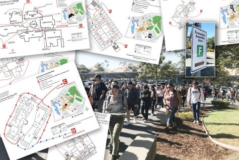 Los Medanos College students return to  College Complex Level Three after being evacuated due to a fire alarm Sept. 26. Maps atop the photo are the old evacuation routes for every building on campus. They are being updated.