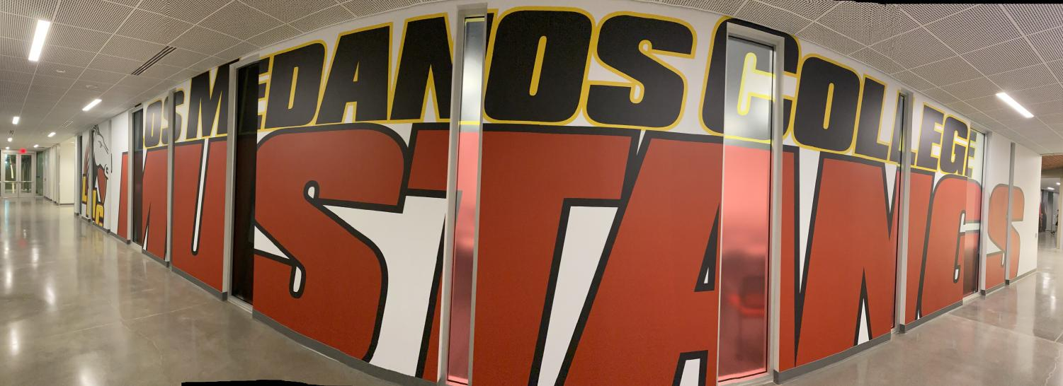 Mural of Los Medanos Mustangs in the new Kinesiology and Athletic Complex which is now open to students and staff.