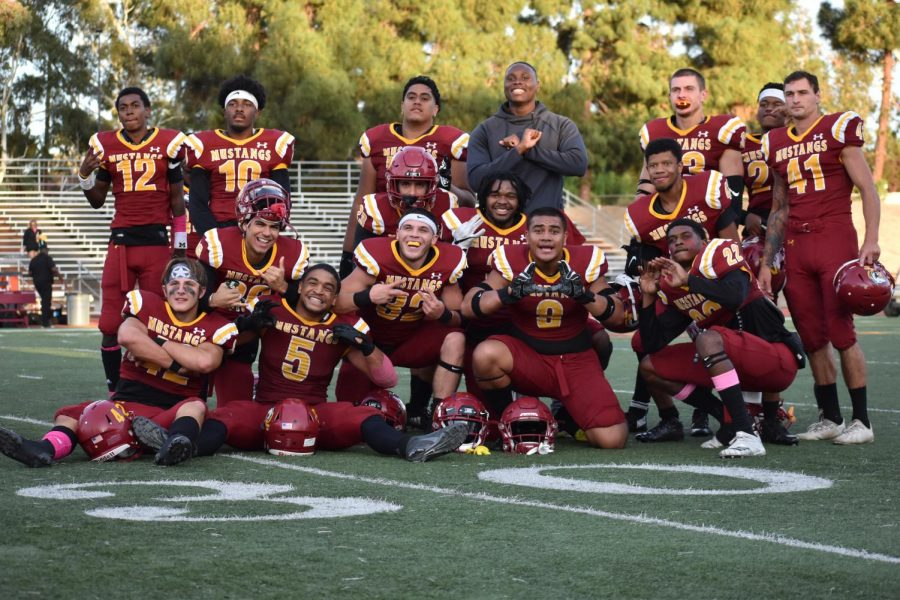 The LMC Football team celebrates after a 14-10 win against College of the Redwoods on Saturday, Oct. 20, 2019.