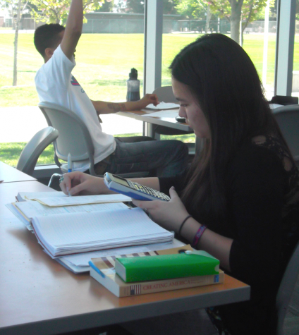 Dorthy Enomoto checks her answers in the Math Lab. Picture taken in 2013.