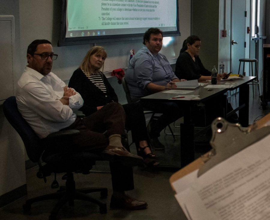 Left: Ryan Hiscocks, Nancy Ybarra, Josh Bearden, Marie Academic Senate members