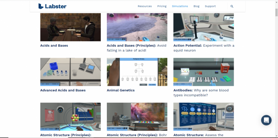 Labster offers dozens of simulations for different courses, mostly focused in the sciences.
