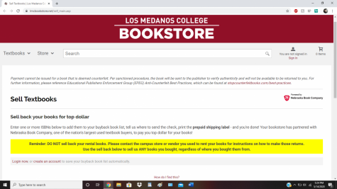 The Los Medanos College Bookstore is now holding the end of the semester textbook buyback event remotely.