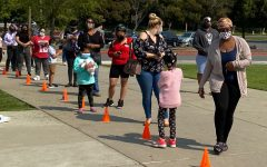 Students wait in line during the EOPS, CARE, CalWORKS days.