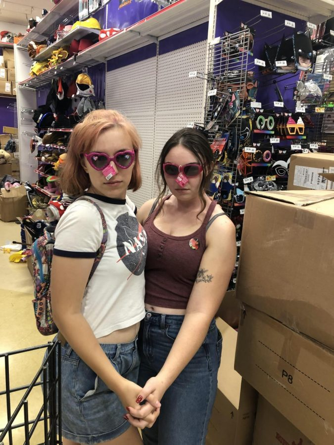 Sierra Heuer and Jasmine Combs check out different props at the Brentwood Party City in 2019.