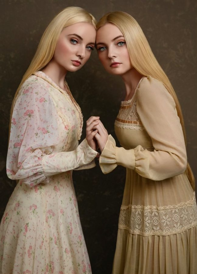 The Roemer twins pose together during a photo shoot.