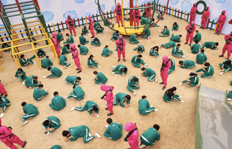 Contestants in the Squid Game compete for financial security.